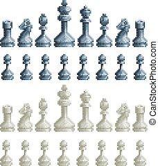 ensemble, art, icônes, morceaux, jeu, vidéo, échecs, 8, morceau, pixel