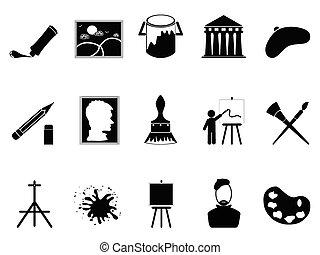 ensemble, artiste, icônes