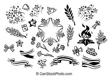 ensemble, associé, rue., guerre, objets, victoire, militaire, rubans, george