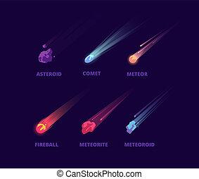 ensemble, atmosphérique, aérolithes, astéroïde, espace, meteorite., vecteur, comète, objects., dessin animé
