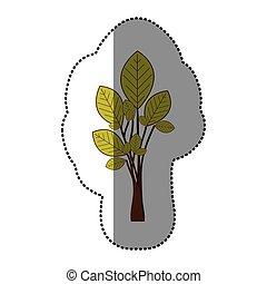 ensemble, autocollant, arbre, vert, chaux, résumé, icône