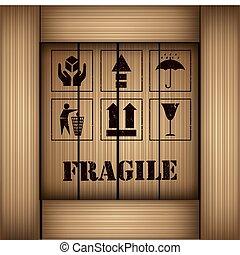 ensemble, autocollant, fragile, vecteur, sécurité, icône