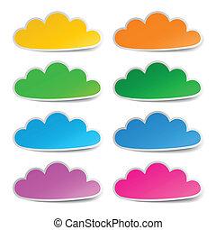 ensemble, autocollants, nuage, coloré
