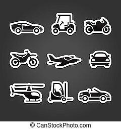 ensemble, autocollants, transport, icônes