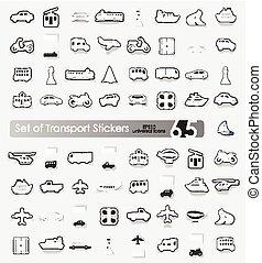 ensemble, autocollants, transport