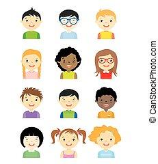 ensemble, avatar, enfants