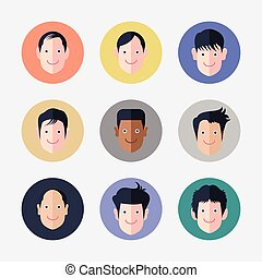 ensemble, avatar, icônes