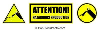 ensemble, avertissement, jaune, blanc, extincteur, brûler, fond, isolé, signes, vecteur, arrière-plan., hasardeux, production.