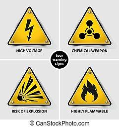 ensemble, avertissement, jaune, signes