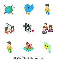 ensemble, avis, isométrique, style, icônes