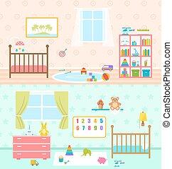 ensemble, bébé, salles, intérieur, salles jeux, kids.