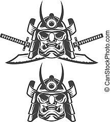 ensemble, ba, épées, masque, isolé, samouraï, traversé, blanc