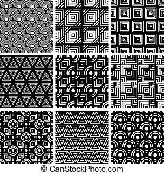 ensemble, backgrou, seamless, motifs, vecteur, noir, blanc, géométrique