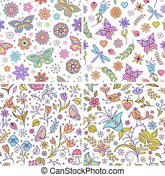 ensemble, backgrounds., floral