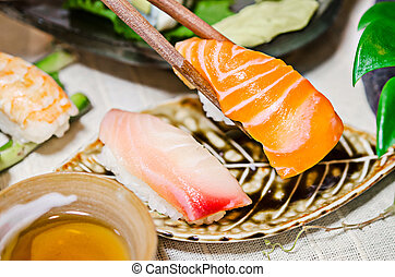 ensemble, baguettes, sashimi, table., saumon