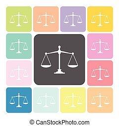 ensemble, balances, justice, illustration, couleur, vecteur, icône