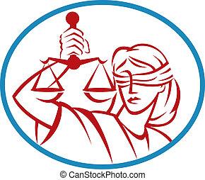 ensemble, balances, justice, intérieur, haut, tenue, dame,...
