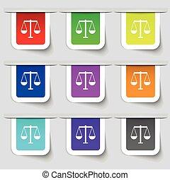 ensemble, balances, justice, signe., moderne, multicolore, étiquettes, vecteur, icône, ton, design.