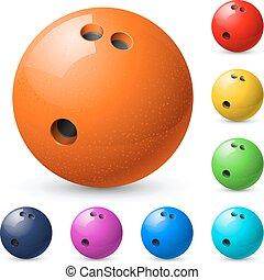 ensemble, balles, bowling