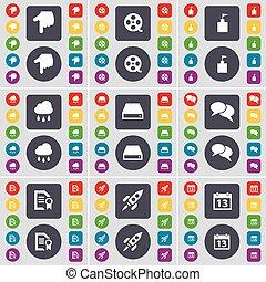 ensemble, bande vidéo, main, texte, commande dure, tour, calendrier, ton, design., bavarder, plat, fusée, boutons, nuage, symbole., drapeau, icône, fichier, coloré, grand, vecteur