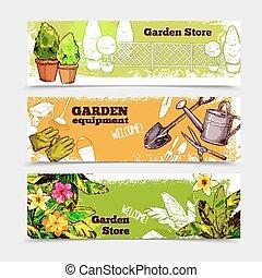 ensemble, bannière, jardin
