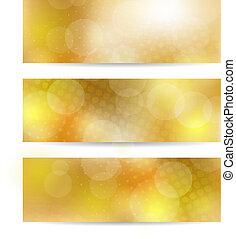 ensemble, bannière, jaune