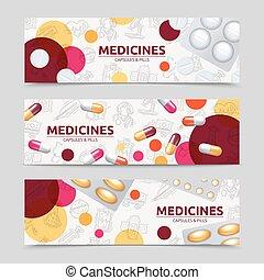 ensemble, bannière, pilules