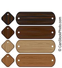 ensemble, bannières, bois, étiquettes