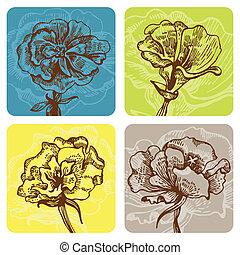 ensemble, bannières, floral