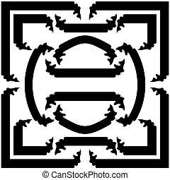 ensemble, bannières, illustration, vecteur, noir, rubans