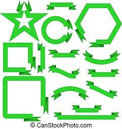 ensemble, bannières, illustration, vecteur, vert, rubans