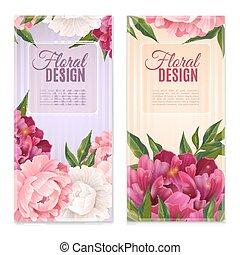ensemble, bannières, stylique floral