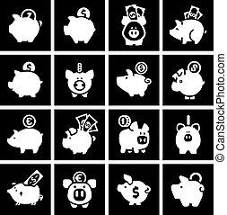 ensemble, banque, icônes, noir, porcin, blanc, carrés