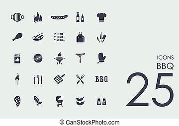 ensemble, barbecue, icônes