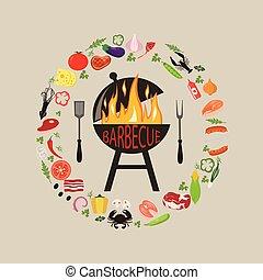 ensemble, barbecue, objets