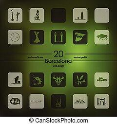 ensemble, barcelone, icônes