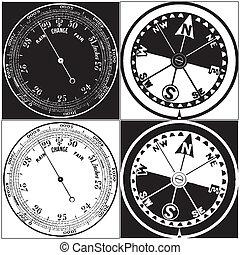ensemble, baromètre, compas