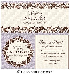 ensemble, baroque, mariage, beige, invitation