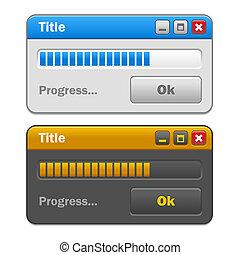 ensemble, barre, couleur, bouton, fenetres, vecteur, chargement, progrès, informatique, ok.