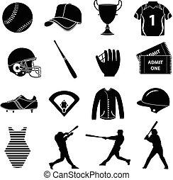 ensemble, base-ball, icônes