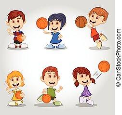 ensemble, basket-ball, jouer, enfants
