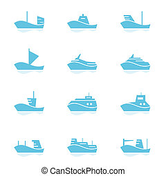 ensemble, bateaux, icônes
