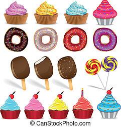 ensemble, beignets, bonbon, glace, gâteau, crème