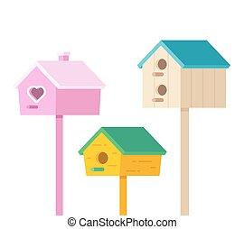 ensemble, birdhouses, dessin animé