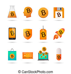 ensemble, bitcoin, icône