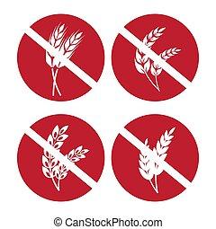 ensemble, blé, gluten, icônes, seigle, gratuite, oreilles