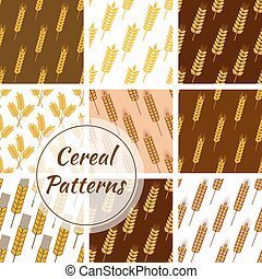 ensemble, blé, seigle, seamless, motifs, céréale, grain, oreilles