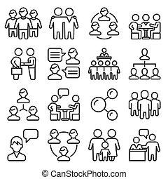 ensemble, blanc, vecteur, business, ligne, arrière-plan., icônes, style, équipe