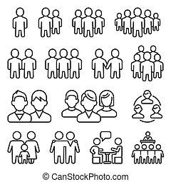 ensemble, blanc, vecteur, humain, groupe, arrière-plan., icônes, style, ligne