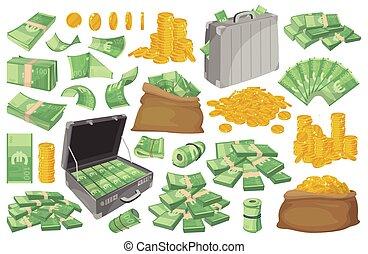 ensemble, blanc, vecteur, illustration, icône, euro, arrière-plan., isolé, argent, billet banque., dessin animé, billet banque